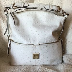 D&B White Embossed Ostrich Leather w/ Cert & Bag